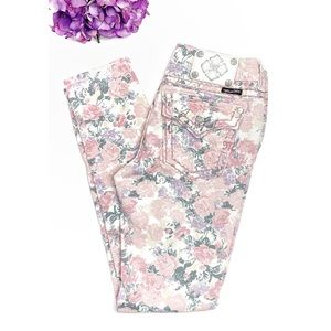 MISS ME Rose Floral Cuff Skinny Cargo Jeans 29